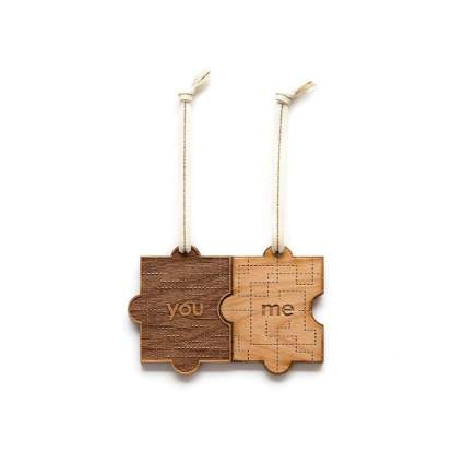 Hereafter You & Me Puzzle Piece Laser Cut Wood Ornament