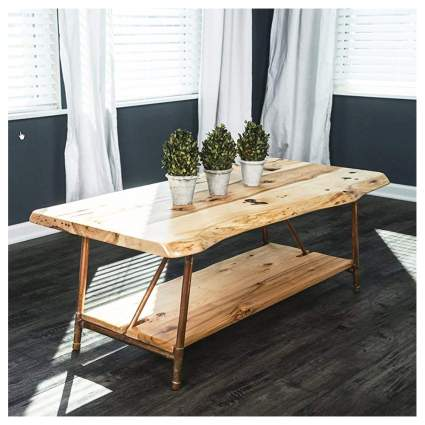 rustic hickery live edge coffee table