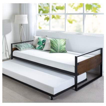metal and wood daybed with trundle