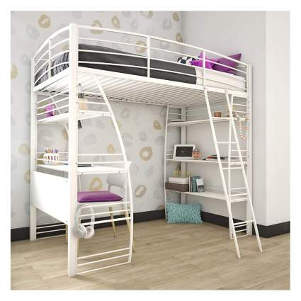 metal loft bed with workstation