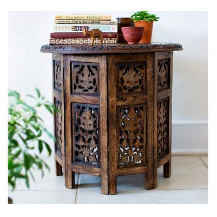 moroccan hand carved wood coffee table