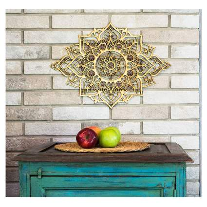 wood mandala wall plaque