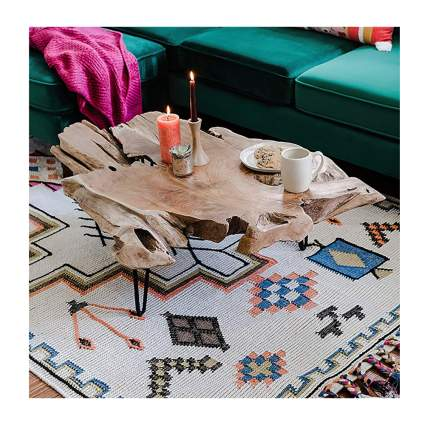 natural teak live edge coffee table