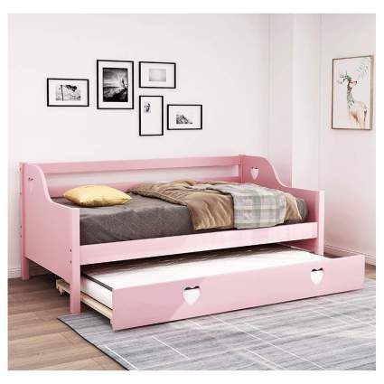 pink daybed with hearts and trundle