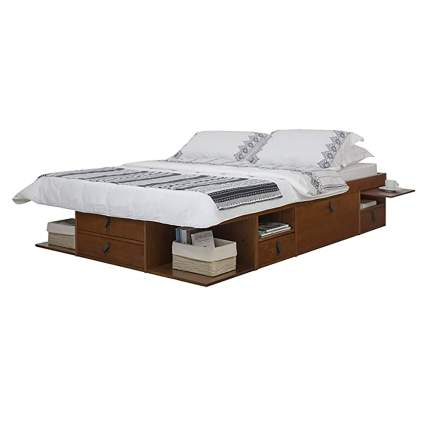 platform bed with storage drawers and shelves