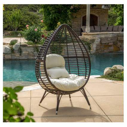 wicker teardrop chair