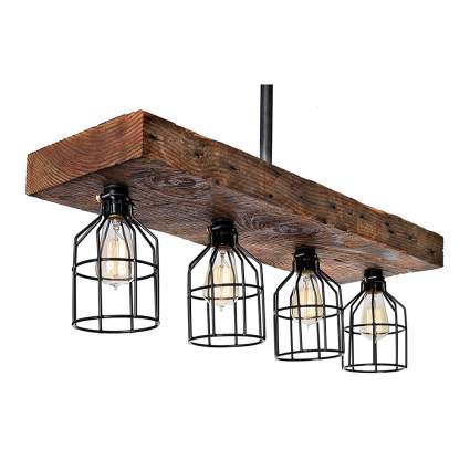 reclaimed wood four light farmhouse fixture