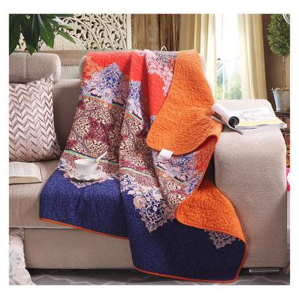reversible moroccan print quilted throw