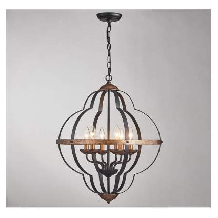 rustic metal six light chandelier