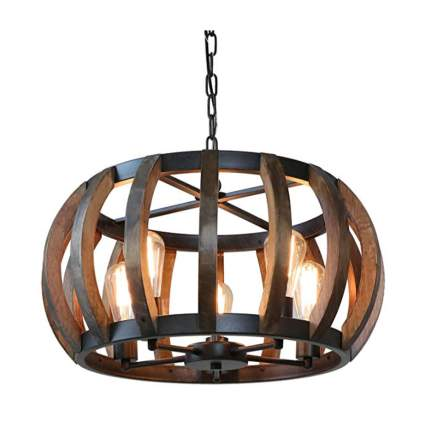 rustic wood pumpkin pendant lamp