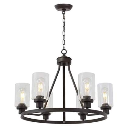 six light metal and glass farmhouse chandelier