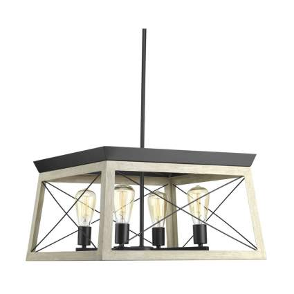 square four light chandelier