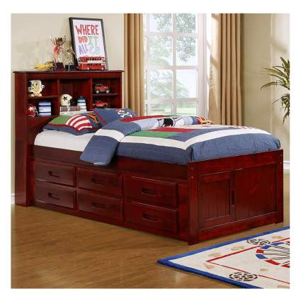 twin bookcase wood captain's bed