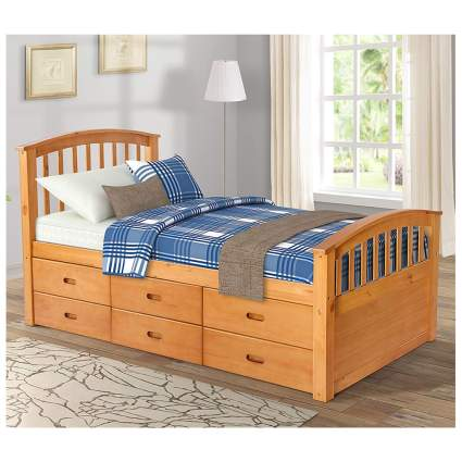 twin captain's bed with trundle drawers