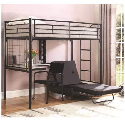 twin loft bed with workstation and futon