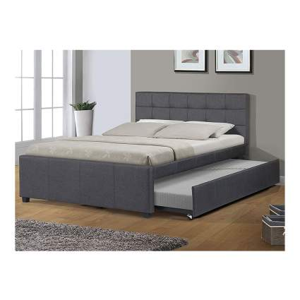 upholstered full size bed with twin trundle