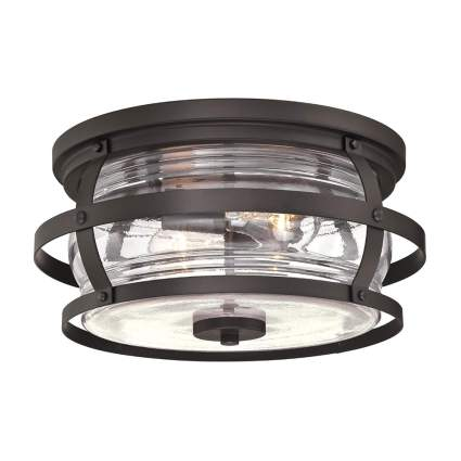 vintage metal and glass flush mount outdoor ceiling light