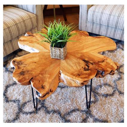 natural edge wood coffee table