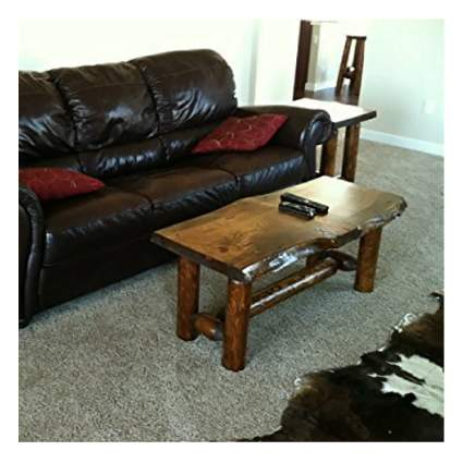 white pine and cedar log live edge coffee table