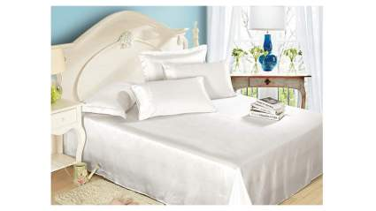 white silk bed sheets