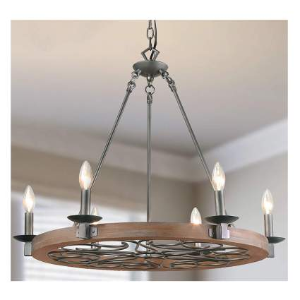 wood and metal scrollwork farmhouse chandelier