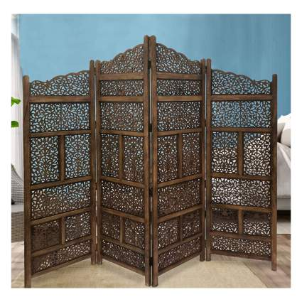 wood multi-panel room divider