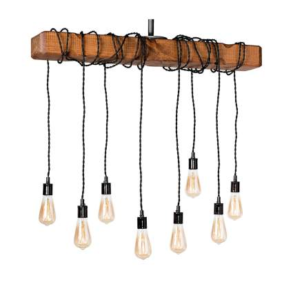 eight light wrapped wood beam farmhouse fixture