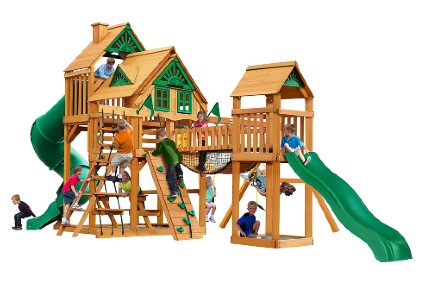 01-1037-AP Treasure Trove I Treehouse Wood Swing Set