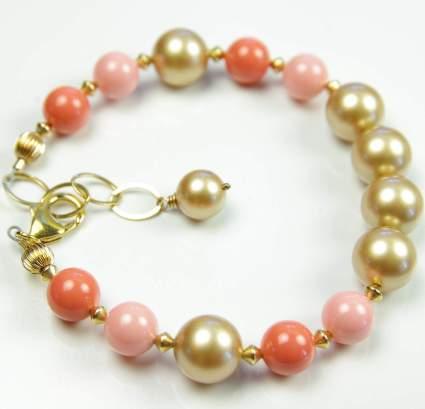 Orange Coral Gold Swarovski Pearl Bracelet