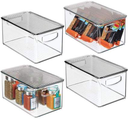 mDesign Plastic Stackable Kitchen Pantry Cabinet