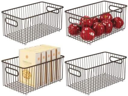 mDesign Metal Farmhouse Kitchen Pantry Food Storage Organizer