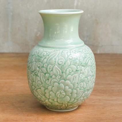 Light Green Floral Celadon Ceramic Vase