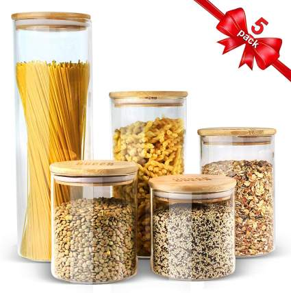 Glass Jars with Bamboo Lids