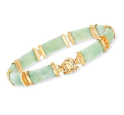 Green Jade Bar Bracelet in 18kt Gold