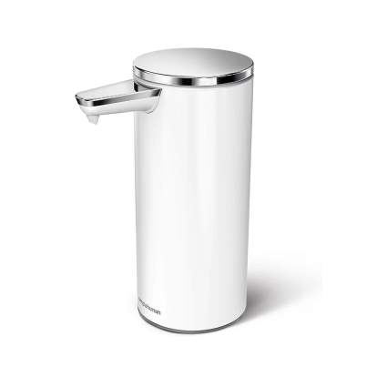 white and stainless touchless soap dispenser