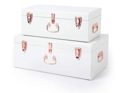 Beautify Cream Vintage Metal Storage Trunk with Rose Gold Handles