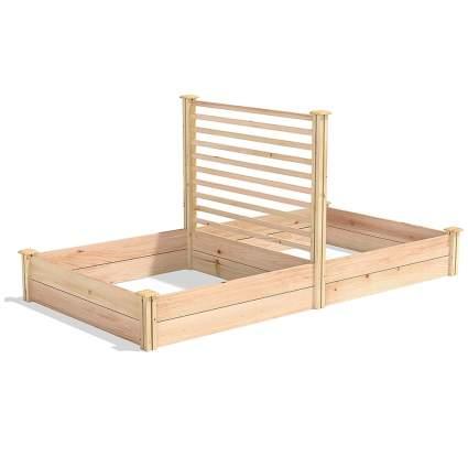 cedar garden box with trellis
