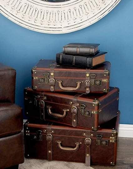 Deco 79 Wood and Leather 3-piece Vintage Suitcase Storage