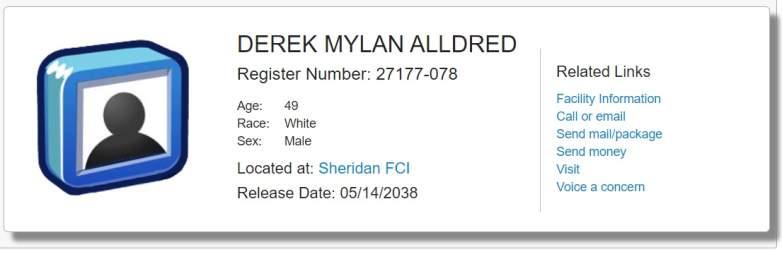 Derek Alldred Prison Records
