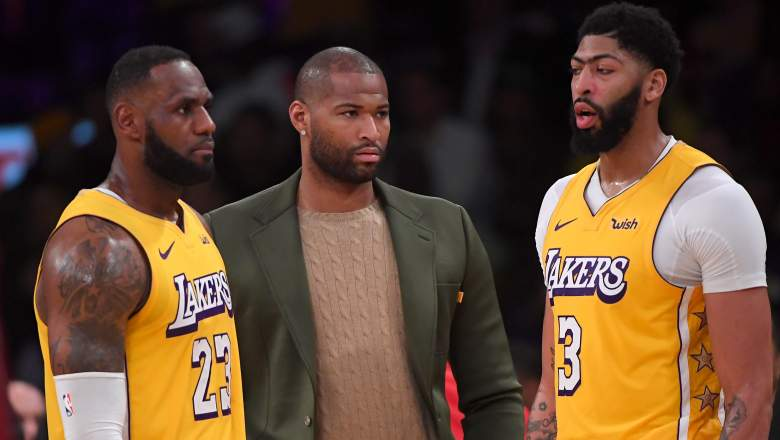 DeMarcus Cousins, at center, neer suited up for the Lakers