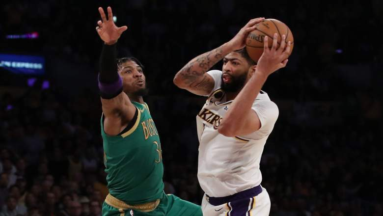 Boston guard Marcus Smart, defending Lakers big man Anthony Davis