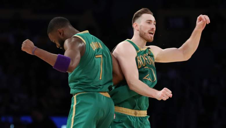 Jaylen Brown, at left, and Gordon Hayward of the Celtics