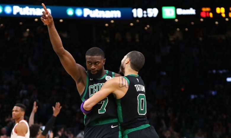 Jaylen Brown, at left, of the Celtics