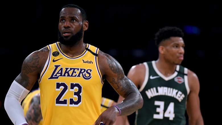 Lakers forward LeBron James, in foreground