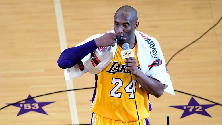 Lakers star Kobe Bryant, with his towel after his final game