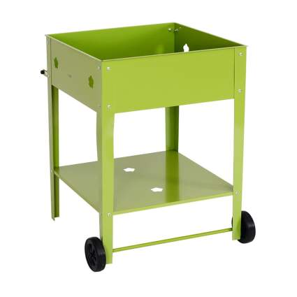 green metal raised garden box