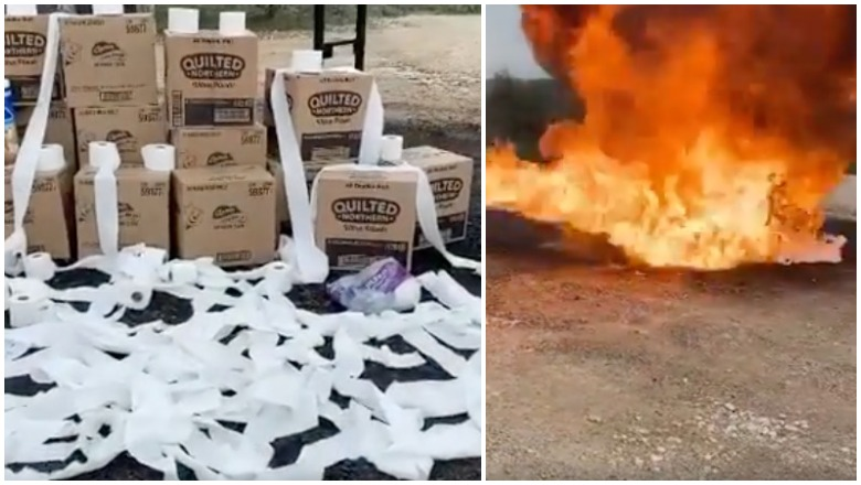 toilet paper on fire
