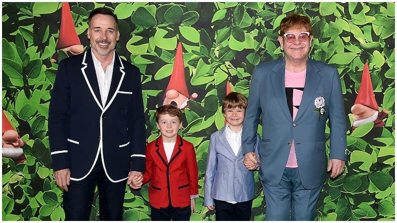 Elton John and his family