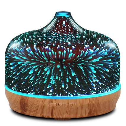 Porseme 500ml Color Changing 3D Glass Essential Oil Ultrasonic Diffuser