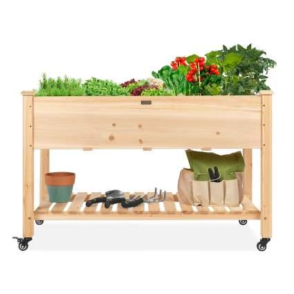raised garden box with storage shelf